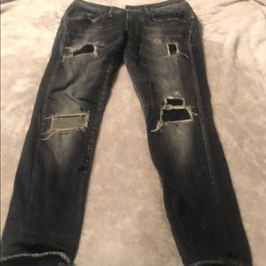 R13 black distressed jeans great fit with stretch